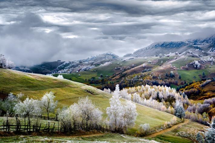 Whitefrost over Pestera village in Romania